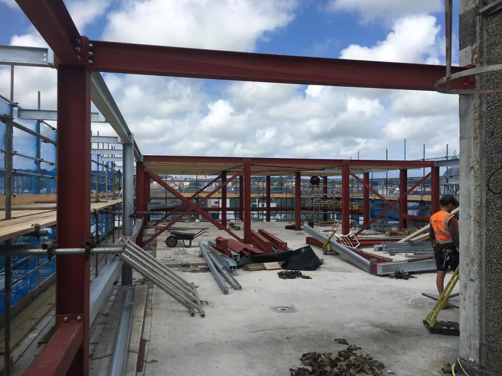 Steell frame erected at PZ360 Penzance